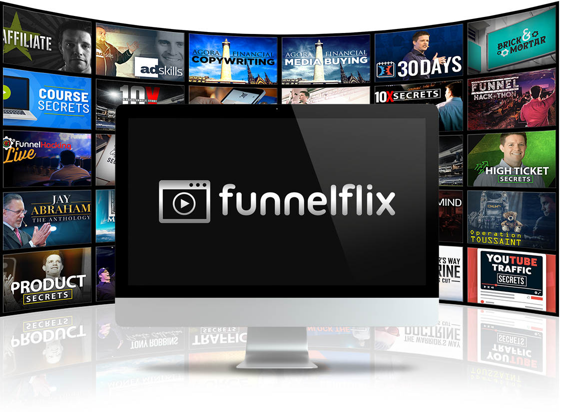 FunnelFlix logo with courses in background